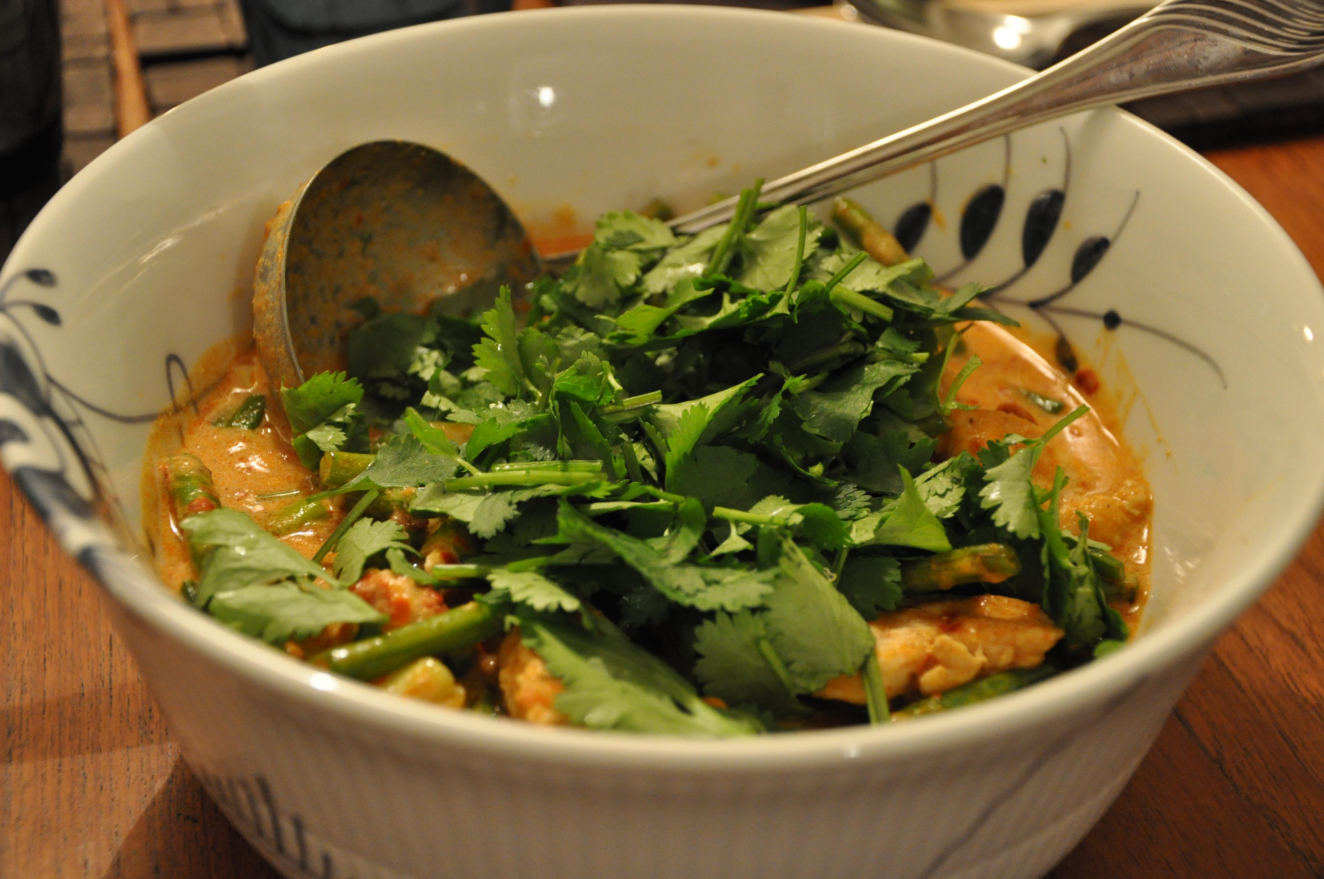 Rød thai karry med kylling og grønne bønner – 2 personer
